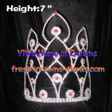 7inch Red Diamond Pageant Rhinestone Crowns