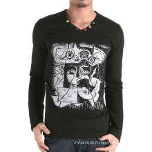 Impression de coton personnalisé avec des boutons autour du T-shirt des hommes col V