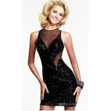 OEM 2015 Последние Bakless Черное платье леди V-образным вырезом Sexy женщин вечернее платье