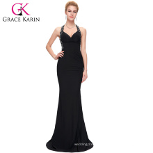 Grace Karin new arrival 6 colors sexy Sleeveless Corss Back Black long evening dresses with Stretch CL6080-1