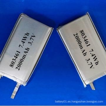 Batería del Li-Polímero 3.7V 2000mAh 803461 Batería recargable