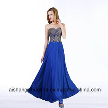 Evening Dresses Chiffon Crystal Beads Sweetheart Sleeveless Long Party Gowns