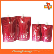 Stand up custom printed plastic spout pouch for cosmetic packaging