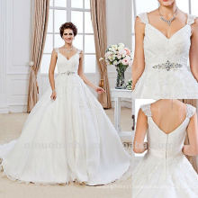 Courtlike Zipper Ball Gown V Neck Sash Gem Lace Chapel Train Wedding Dress 2012