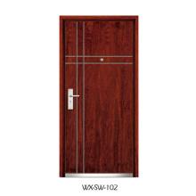 Porta de madeira de aço competitiva (WX-SW-102)
