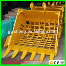 customized excavator sorting/ sieve/ skeleton bucket with grid size 100*100mm