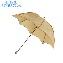 Promotion Beige Color Fashion Design Lotus Leaf Shape Wholesale 8 Rib Piping Straight Women's Umbrella Printed White Dots China