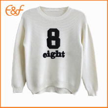 Korean Style White Girls Embroidered Sweater