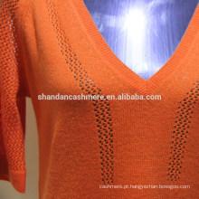 Design de camisola de lã para senhoras Senhoras 2 / 26s 100% lã com meia manga, camisola de pulôver em v, 12Gauge, Stock