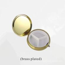Boîte de rangement en métal plaqué laiton pour cosmétiques ou bijoux (BOX-31)