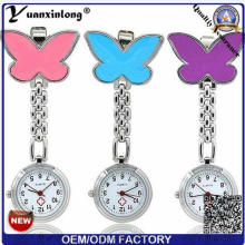 Yxl-284 Custom Design Nurse Watch Metal Alloy Case Chain Pocket Nurse Watch Quartz Butterfly Pendant Medical Nurse Watches