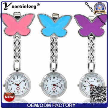 Yxl-284 Custom Design Nurse Watch Metal Alloy Case Chain Pocket Nurse Watch Quartz Butterfly Pendant Medical Nurse Watches