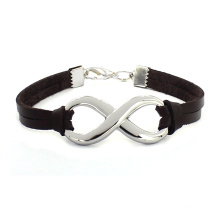 Factory Price Stainless Steel Charms Infinity Weave Leather Friendship Bracelet