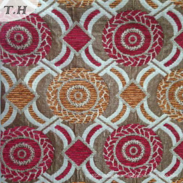 Red and Yellow Chenille Circular Jacquard Sofa Cloth (FTH32087)