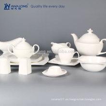 Blanco puro a granel KUNLUN personaliza el sistema de té blanco de la porcelana del llano del sistema de té de cerámica del logotipo