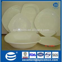Atacado branco quadrado osso china pratos para cozinha