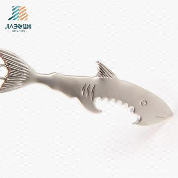 Free Design Custom Logo Alloy Casting Shark Metal Bottle Opener with Keychain