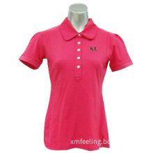Red Solid Classical Ladies Polo Shirts With Customized Embroideries