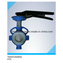 API Cast Steel Wafer PTFE Lining Split Body Butterfly Valve