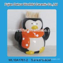 Ceramic kitchen novelty toothpick holder with penguin figurine