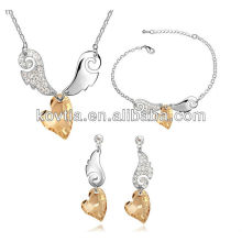 Plated 18k white gold jewelry heart shape crystal jewelry set