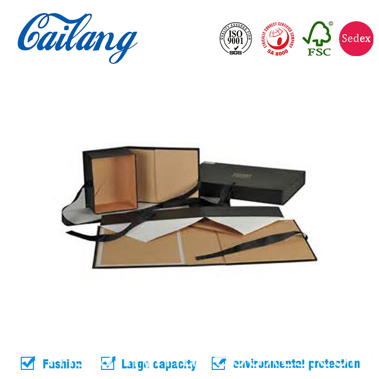 luxury black collapsible paper cardboard box for apparel and cosmetics gift packaging