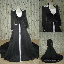 JJ2783 Wulstiges weißes und schwarzes moslemisches Hochzeitskleid mit langen Ärmeln