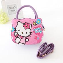 Einteilige reizende hallo Miezekatze PU Handtaschen, Mädchen-Taschen-Taschen mit Minzen- / Rosakarikaturhandtaschen für einteiliges Einzelverkaufsgroßverkauf der Mädchen