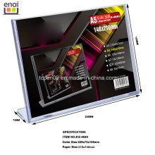 Venda quente A5 Tamanho PS Display Publicidade e Exposição Stand Card