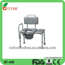 shower commode toilet chair with PVC seat