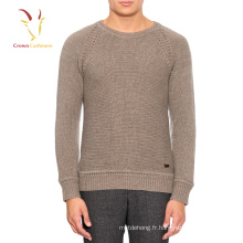 Chandail à col ras du cou à motif de tricot uni hommes