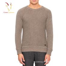 Men plain knitting pattern crew neck pullover sweater