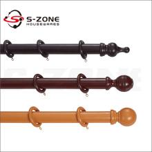 Tige de rideau double en bois de haute qualité avec différentes couleurs