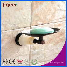 Fyeer Ceramic Base Black Bathroom Accessory Brass Soap Dish Holder