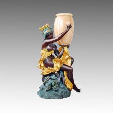 Grande sculpture en jardin de bronze Lampe femme nue Statue en laiton Tpls-042