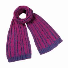Женские зимние унисекс теплый Цвет комбинированный кабель тяжелый вязаный шарф (SK162)