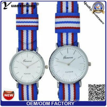 Yxl-550 Stainless Steel Couple Wrist Watch with Nylon Band Slim Case Watch 3 ATM Water Resistant