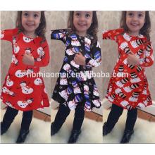 Atacado Família Roupas Combinando Para A Menina Crianças Desgaste Impresso Manga Longa Flor De Natal Vestido Da Menina