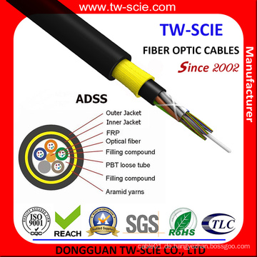 ADSS 6/8/12/24/48/72/96/144 Core Span 120m Glasfaserkabel