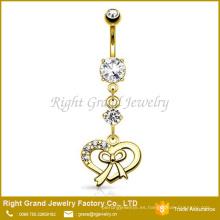 Jeweled Crystal Heart Bow 18K Gold Titanium Dangle Anillo del ombligo
