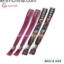 Promotionnel Logo imprimé tissé Bracelet avec Clip métal