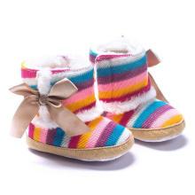 Botas infantis de inverno tricô lã sola macia unissex sapatos de bebê