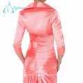 Robe à manches courtes en train de soie pour la mère du marié