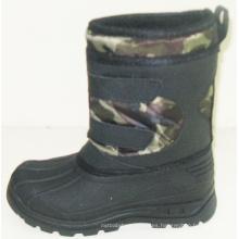 Botas de injeción / botas de nieve de invierno con tela de Oxford de moda (SNOW-190008)
