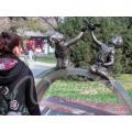 Decoración del jardín artesanías de metal de tamaño natural ángel de la paz escultura de bronce niño y niña