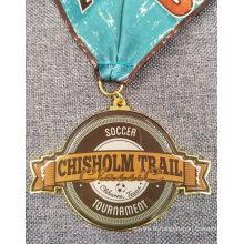 Impression offset de promotion sur la médaille en métal en laiton avec la lanière