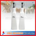 Set of 2PC Round Ceramic Porcelain Oil Vinegar Bottle with Stand