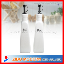 Set of 2PC Round Ceramic Porcelain Oil Vinegar Bottle with Stand