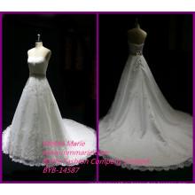 Новая модель 2014 свадебные платья длинный хвост свадебные платья с аппликацией кружева ткань БЫБ-14587