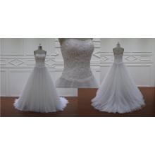 Vestido de novia de encaje con cuentas sin tirantes de organza